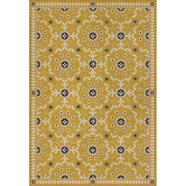 Yellow, Beige, Black (The Miser and the Poet) Floral / Botanical Area Rug