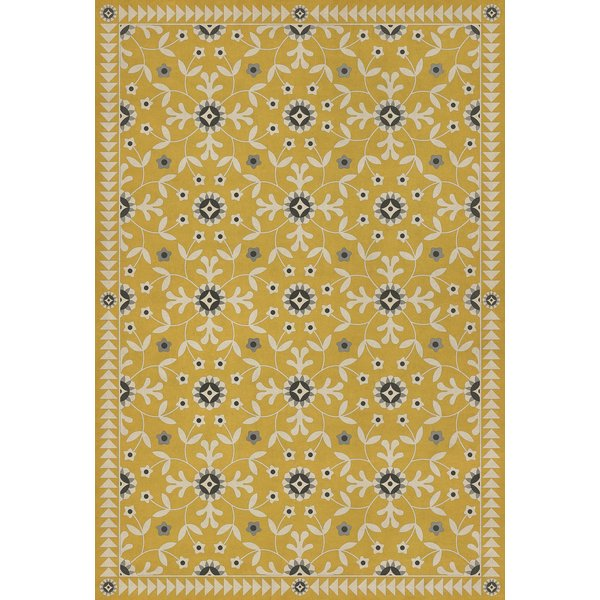 Yellow, Beige, Black - The Miser and the Poet Floral / Botanical Area Rug