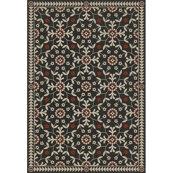 Distressed Black, Beige, Red (Time Takes It All) Floral / Botanical Area Rug