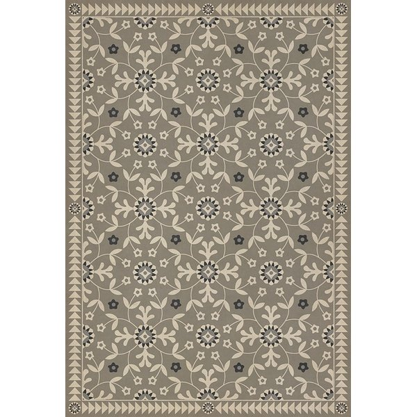 Grey, Beige, Distressed Black (To the Nightingale) Contemporary / Modern Area Rug