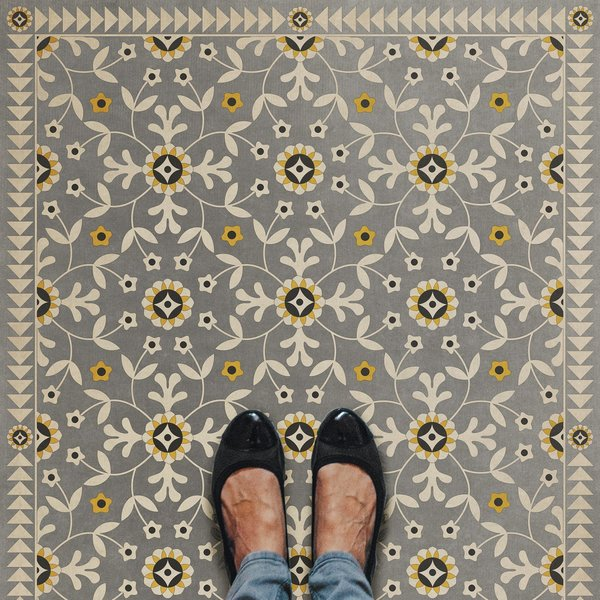 Grey, Beige, Yellow (When Others Soundly Slept) Floral / Botanical Area Rug