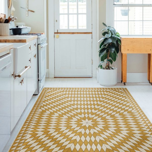 Yellow, Beige (The Sun has Risen) Contemporary / Modern Area Rug