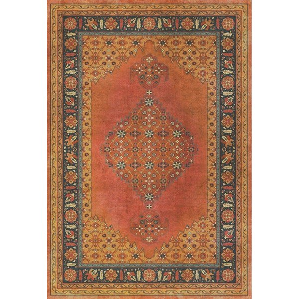 Orange, Black (Mughal) Bohemian Area Rug