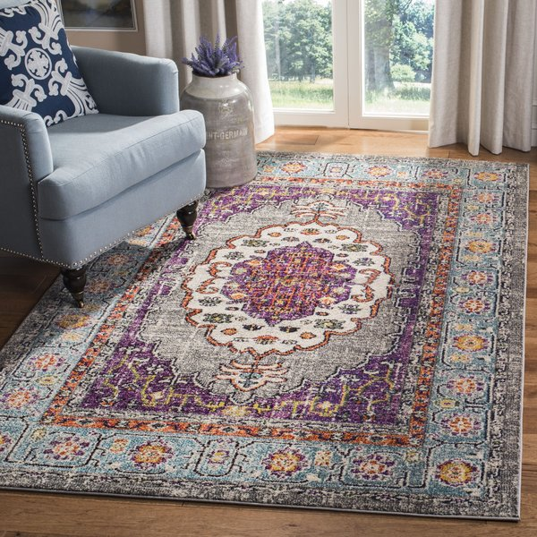 Violet, Light Blue (L) Traditional / Oriental Area-Rugs