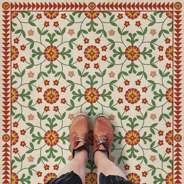 Beige, Red, Green - Contemplation Floral / Botanical Area-Rugs