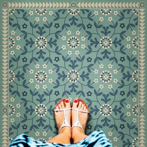 Blue, Beige - Life is a Journey Floral / Botanical Area-Rugs