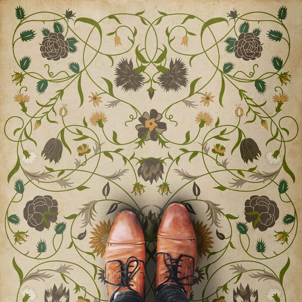Antiqued Ivory, Green, Mustard - Martha Floral / Botanical Area-Rugs