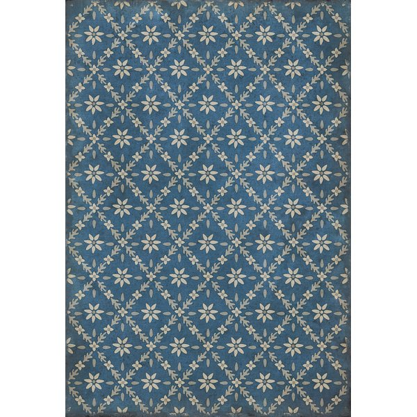 Blue, Distressed Grey - Colden Floral / Botanical Area-Rugs