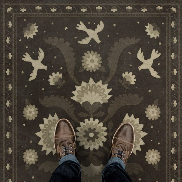 Distressed Black, Cream - Stitches of the Hours Floral / Botanical Area-Rugs
