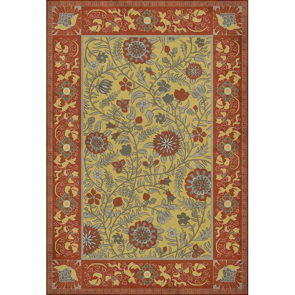 Red, Yellow - Calcutta Floral / Botanical Area-Rugs