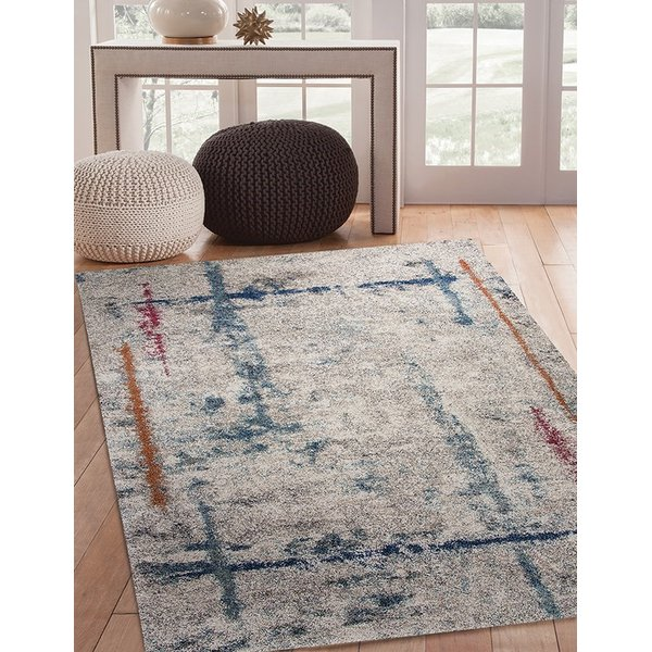 Ivory, Blue, Red, Orange (2563) Abstract Area Rug