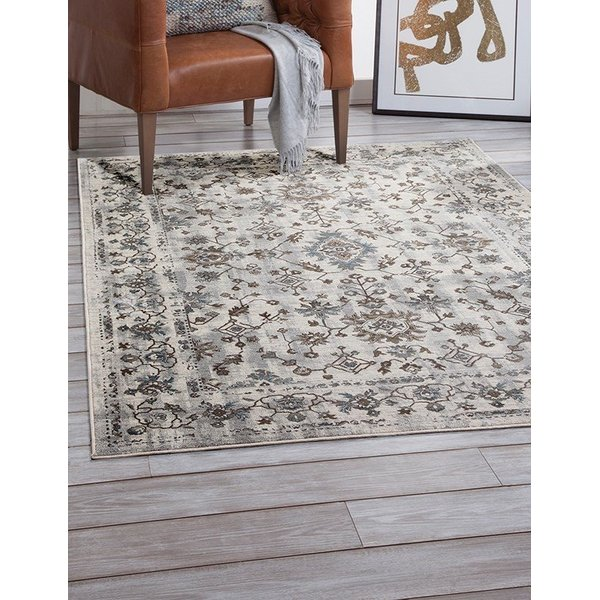 Grey, Ivory, Brown, Blue (7327) Traditional / Oriental Area Rug