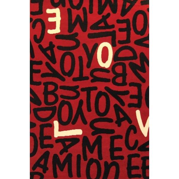 Red, Black, Ivory (1586-8667) Floral / Botanical Area Rug
