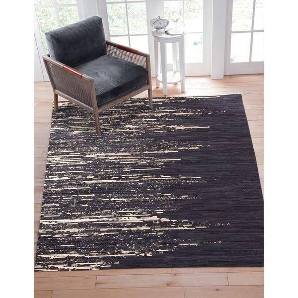 Black, Natural (004) Contemporary / Modern Area Rug