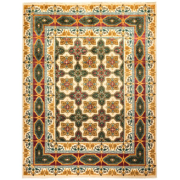 Ivory, Crimson, Forest Green Traditional / Oriental Area Rug