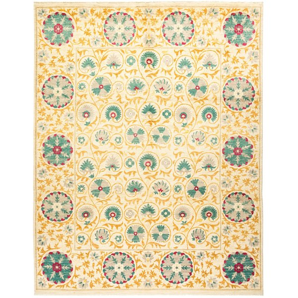 Ivory, Teal, Marigold Traditional / Oriental Area Rug
