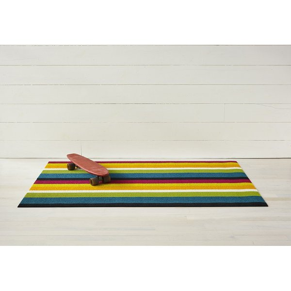 Yellow, Blue, Pink Striped Area-Rugs