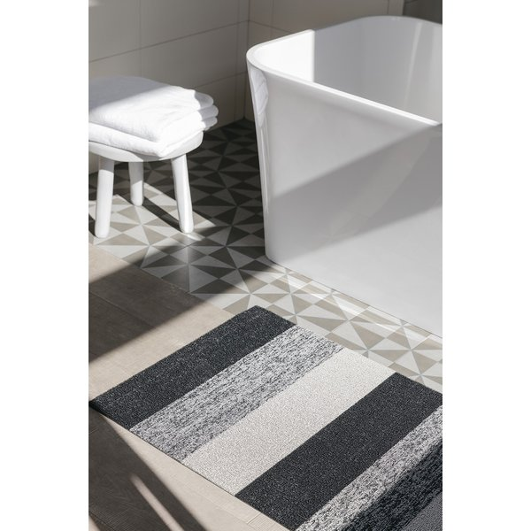 White, Grey, Black (Salt and Pepper) Striped Area Rug