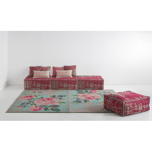 Grey, Pink Blue (Colour) Floral / Botanical Area-Rugs