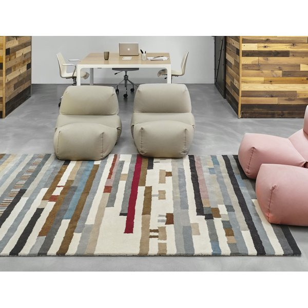 Grey, Ivory, Black Contemporary / Modern Area Rug