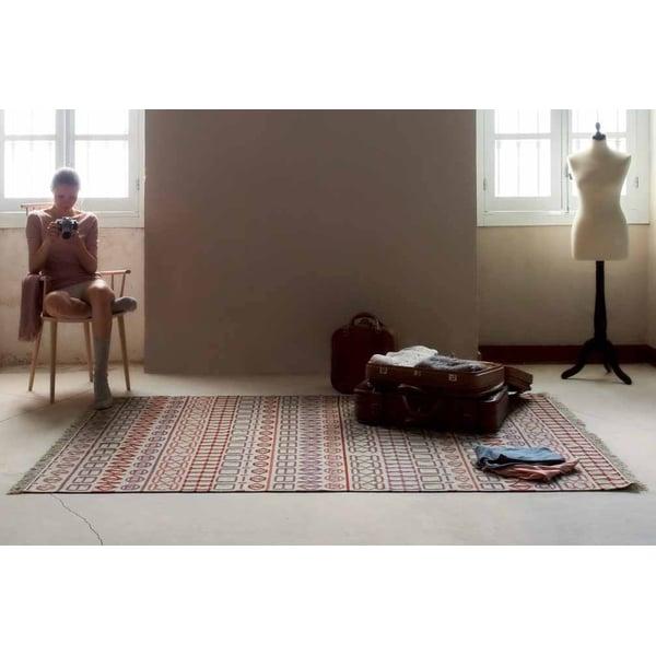 Cream, Orange, Mauve Contemporary / Modern Area Rug