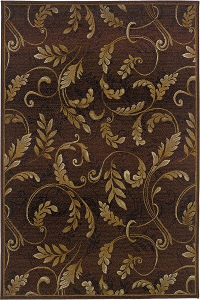 Brown, Beige Floral / Botanical Area Rug