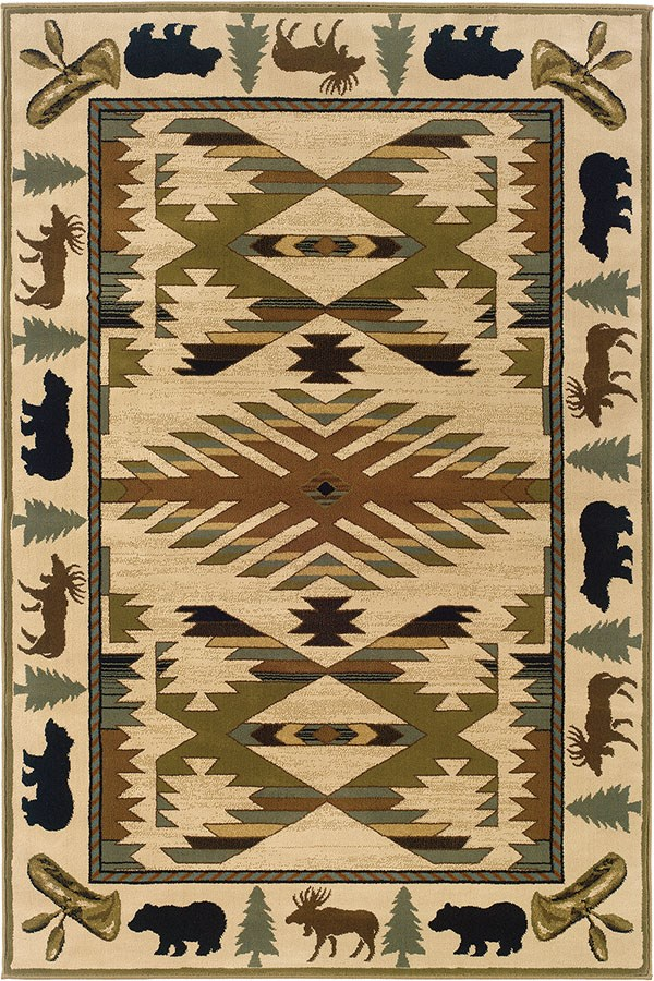 Ivory, Green Southwestern / Lodge Area Rug