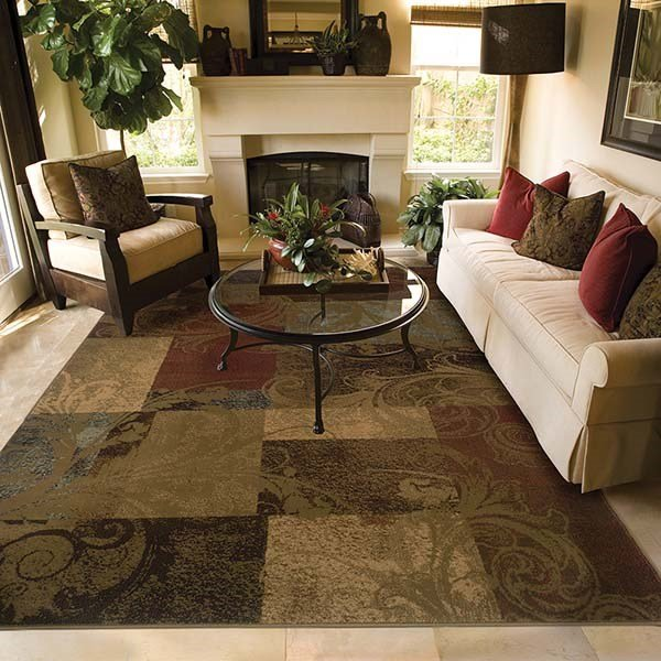 Green, Red Transitional Area Rug