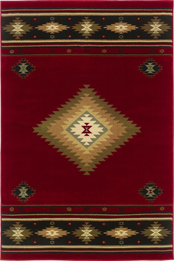 Red, Green (087K1) Southwestern / Lodge Area Rug