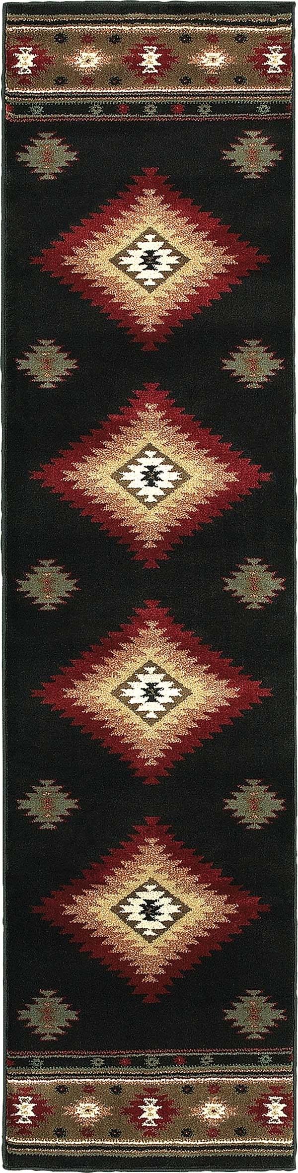 Black, Green (087G) Southwestern / Lodge Area Rug