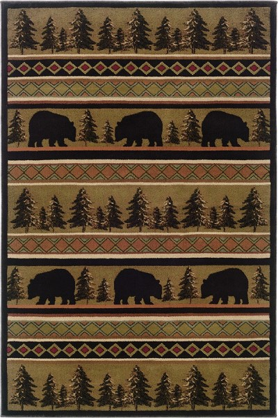 Black, Beige Country Area Rug