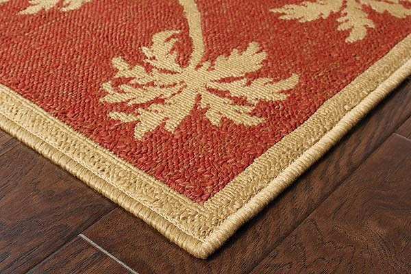 Beige, Red (606C8) Bordered Area Rug