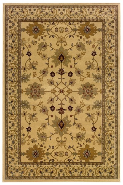 Ivory, Green Traditional / Oriental Area Rug