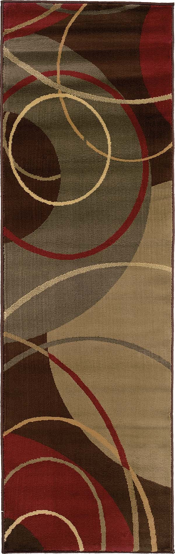 Brown, Red Contemporary / Modern Area Rug