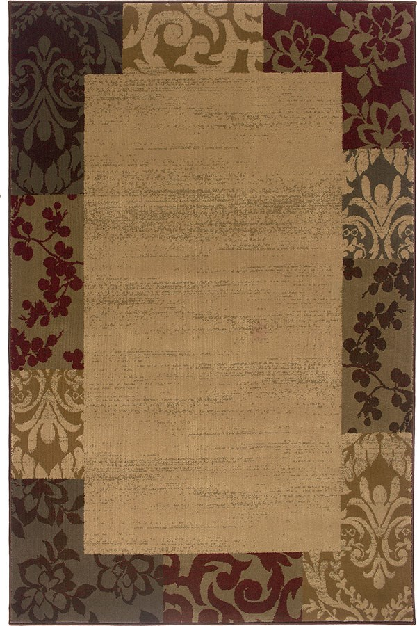 Beige, Red Bordered Area Rug