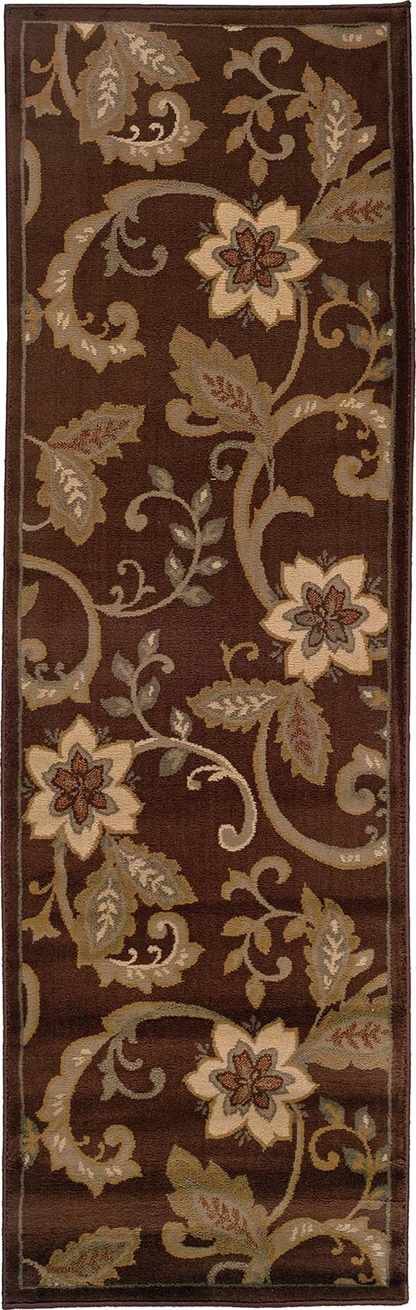 Brown, Ivory Floral / Botanical Area Rug
