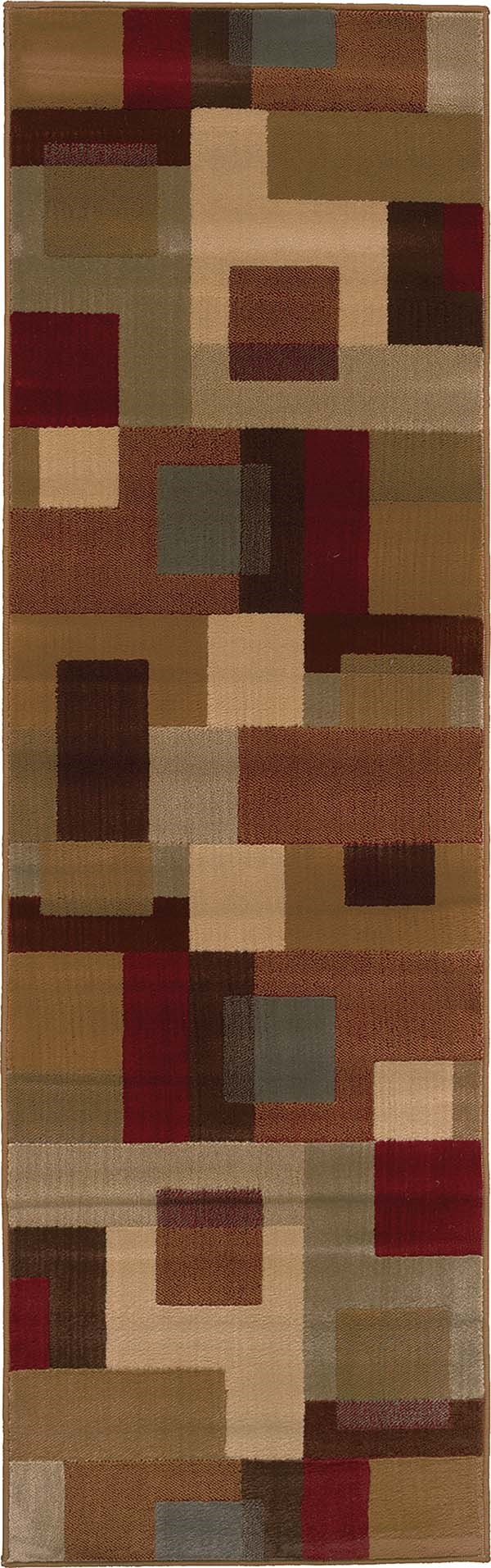 Red, Tan Contemporary / Modern Area Rug