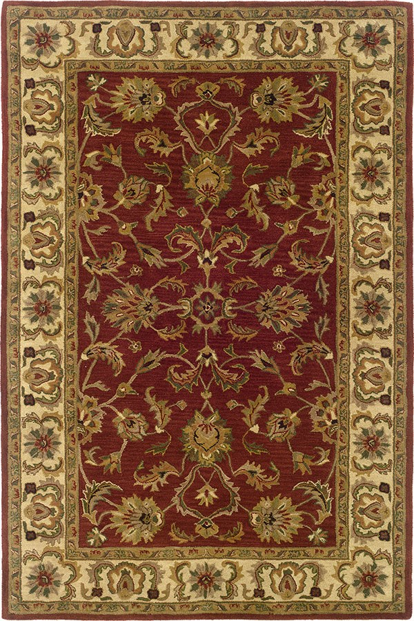Red, Ivory Traditional / Oriental Area Rug