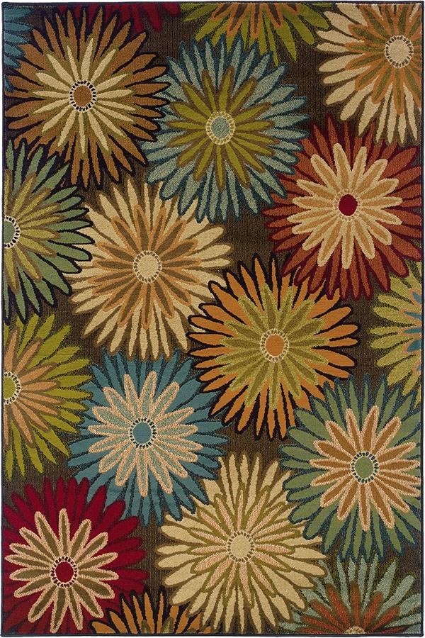 Brown, Blue Floral / Botanical Area Rug