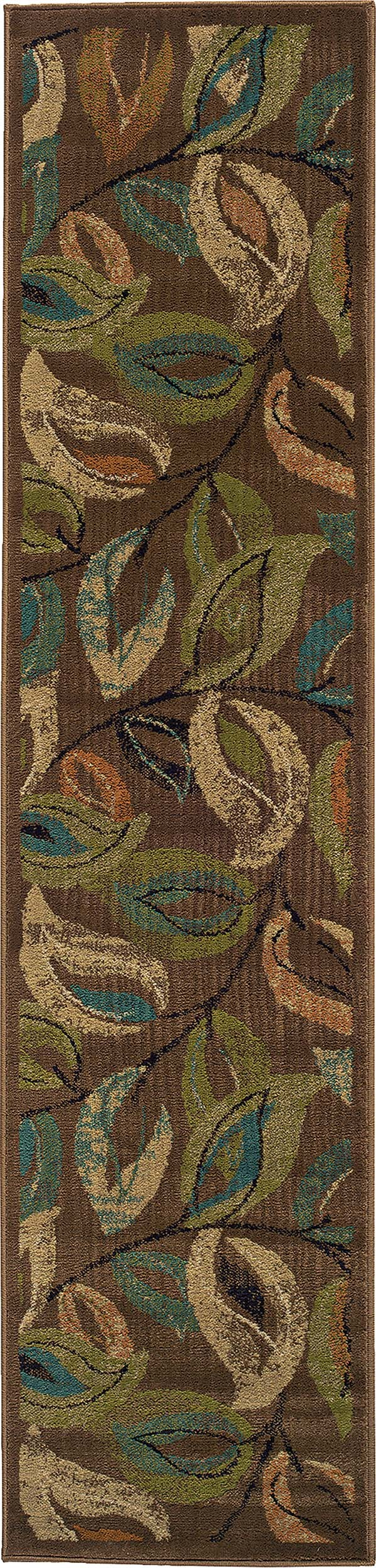 Brown, Green Floral / Botanical Area Rug