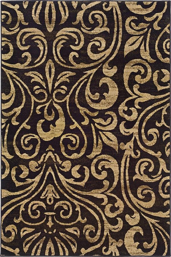 Black, Gold Damask Area Rug