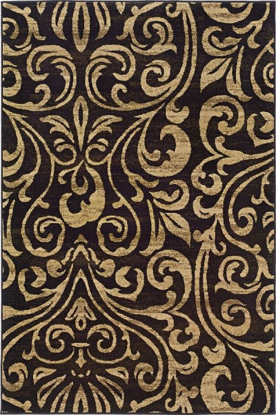 Black, Gold Traditional / Oriental Area Rug