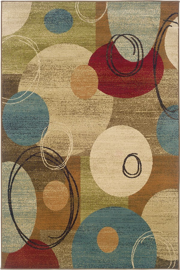 Gold, Brown Contemporary / Modern Area Rug