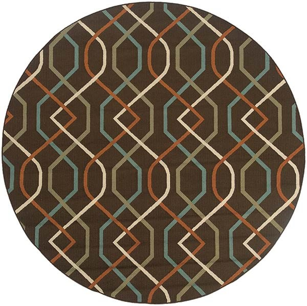 Brown, Ivory (896N) Contemporary / Modern Area Rug