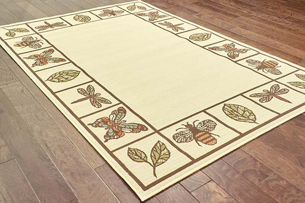 Ivory, Brown Bordered Area Rug