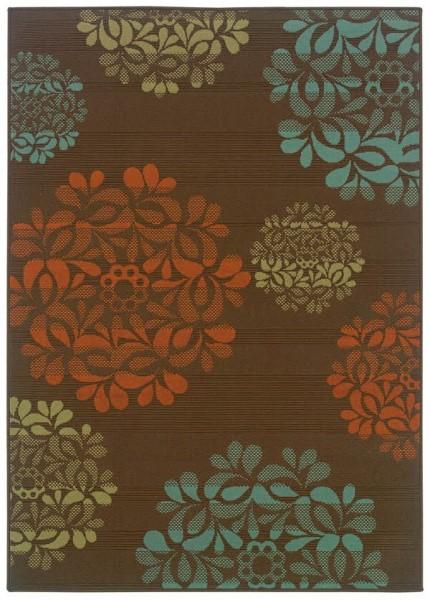 Brown, Blue Outdoor / Indoor Area Rug