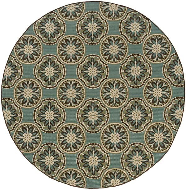 Blue, Ivory (8323L) Moroccan Area Rug