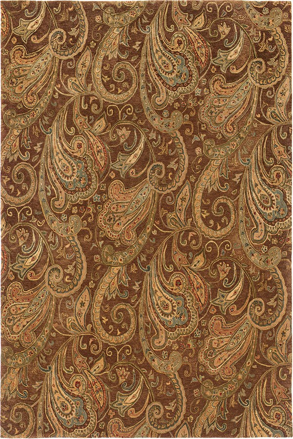 Brown, Gold Paisley Area Rug