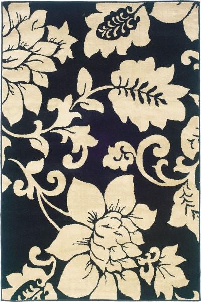 Black, Ivory Floral / Botanical Area Rug