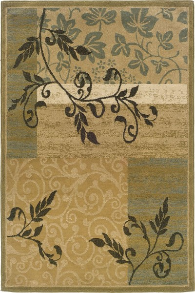 Gold, Green Transitional Area Rug